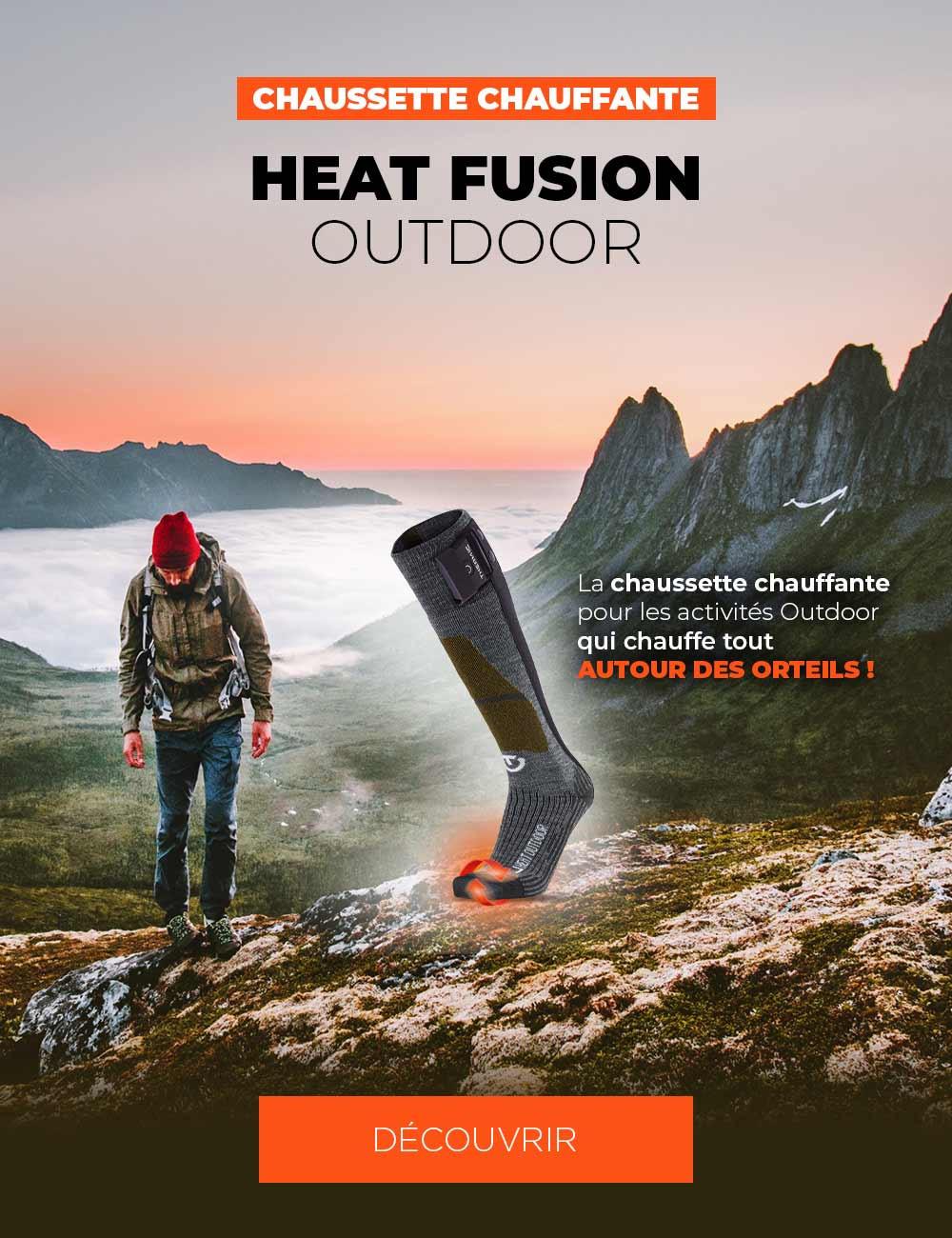 Découvrez la chaussette chauffante pour les activités Outdoor qui chauffe tout autour des orteils !