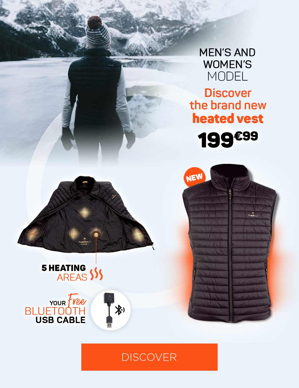 Discover our new heated vest with 5 points of heat to never be cold again!