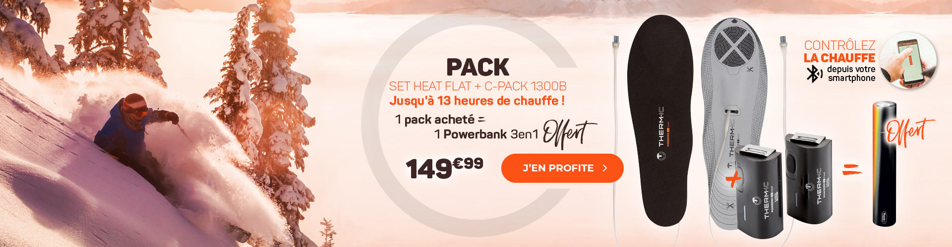 Pour l'achat d'un Set Heat Flat + 1300B, une batteries externe 3en1 offerte !