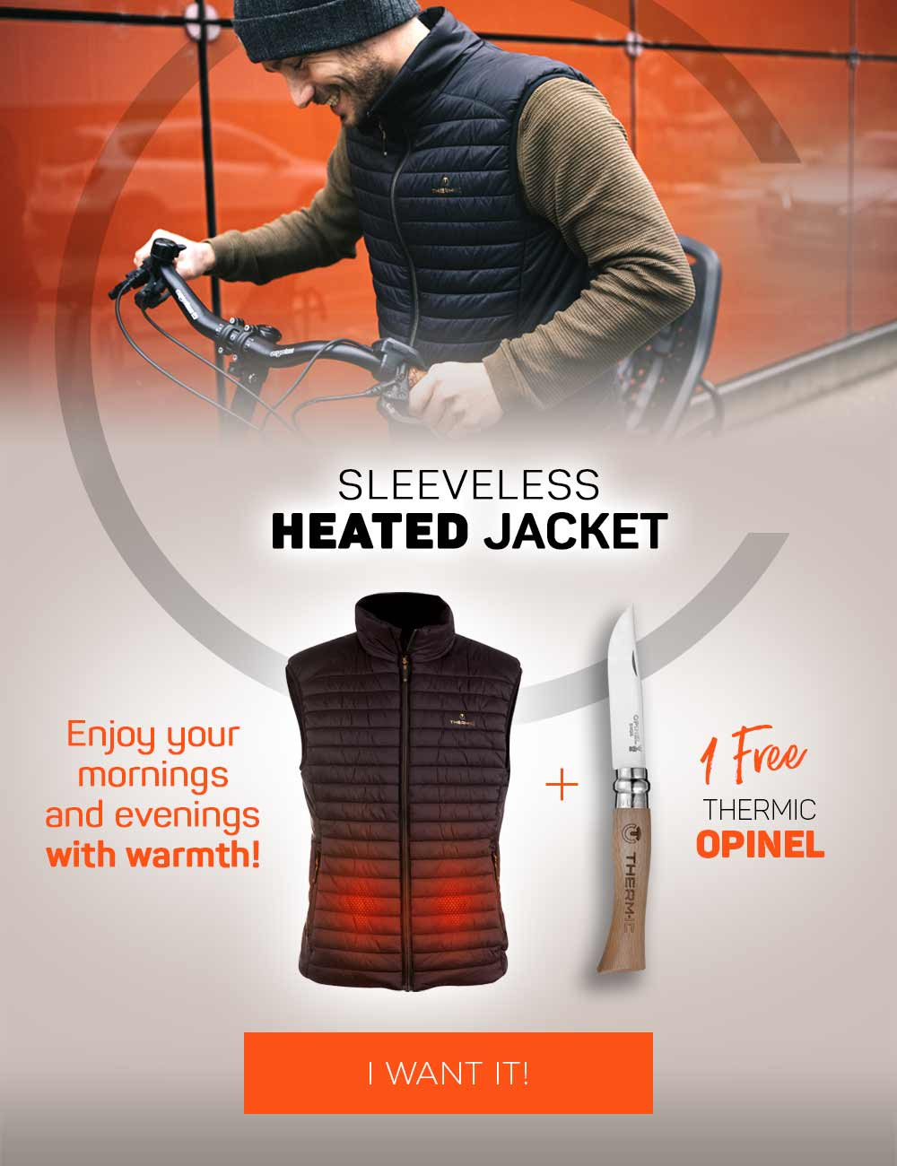 Get your free Opinel knife when you buy a pack of heated vest and battery