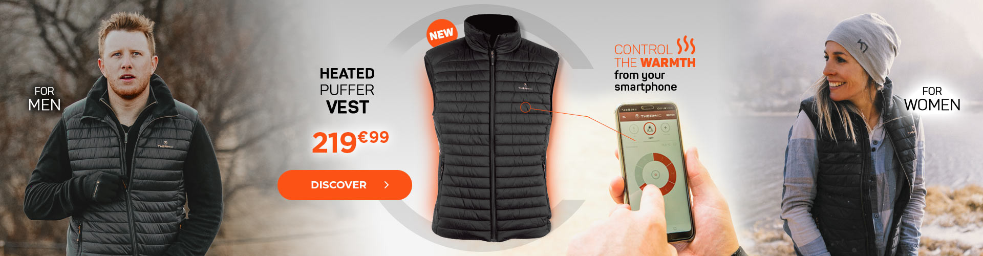 Discover our heated puffer jacket! Nice comfort and heat all day long!