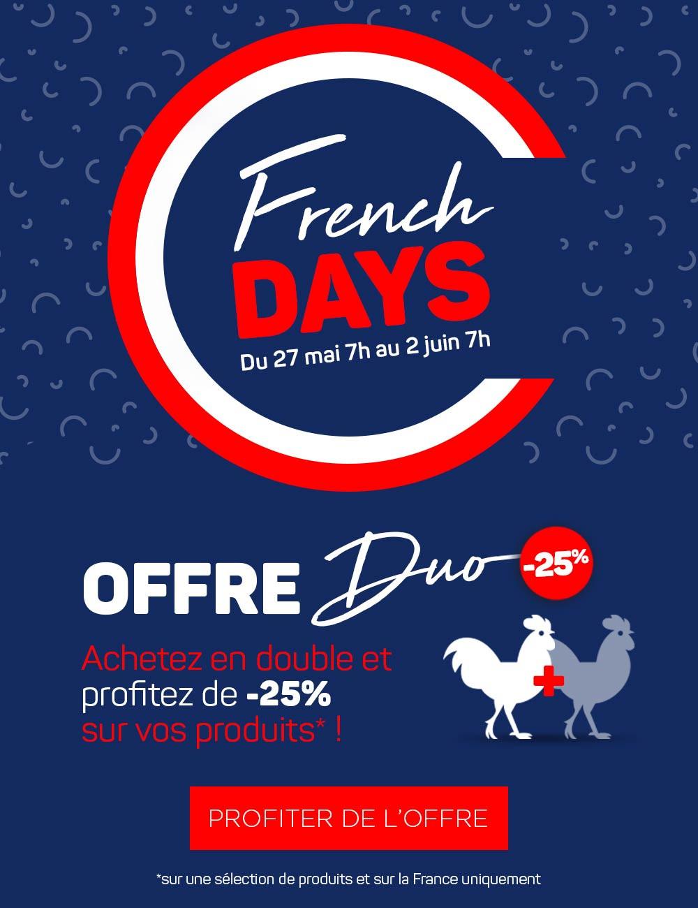 French Days 2020, -25% quand vous achetez deux fois le même produit !