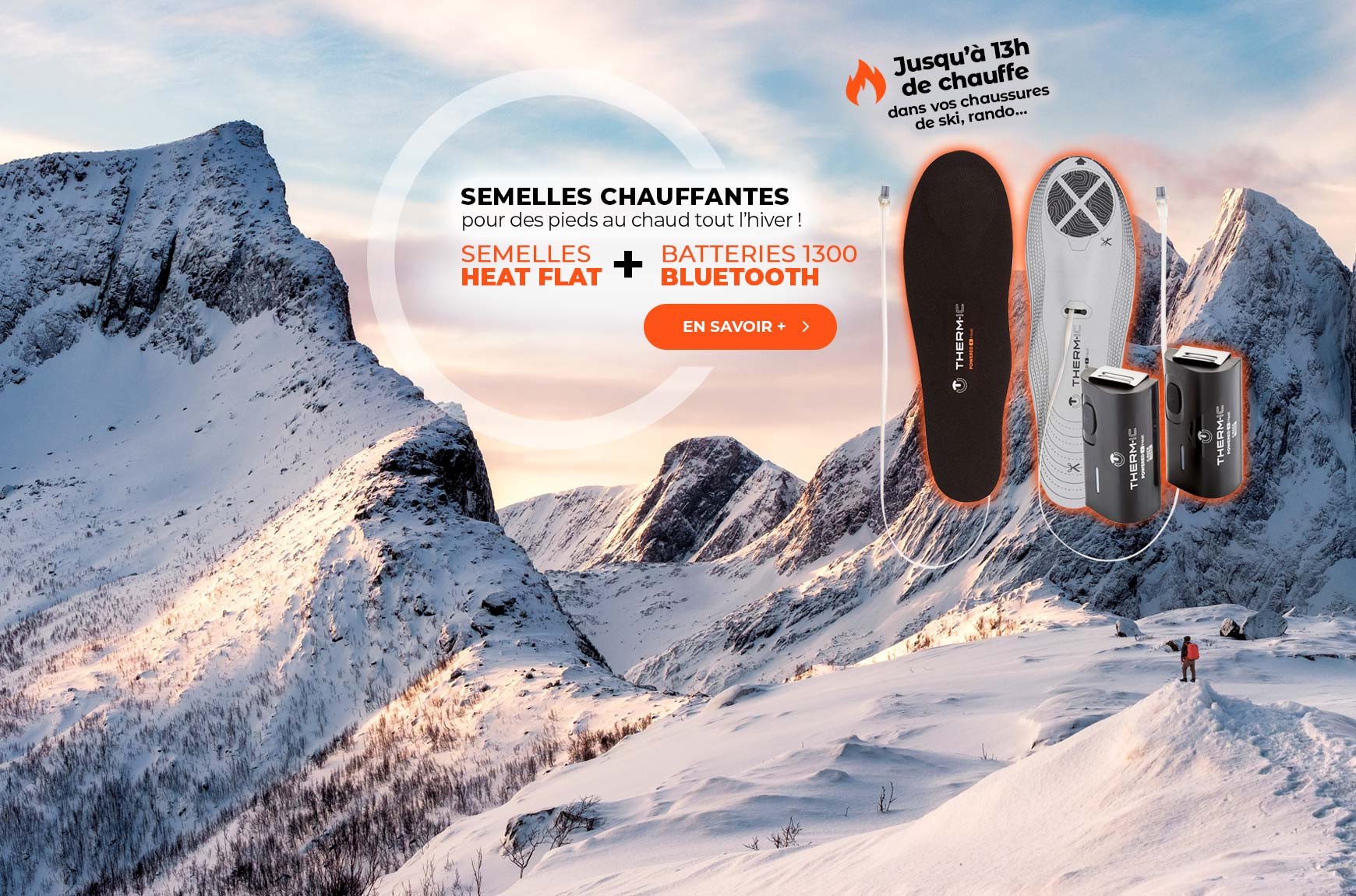 Pack semelles chauffantes Heat Flat + batteries 1300 Bluetooth