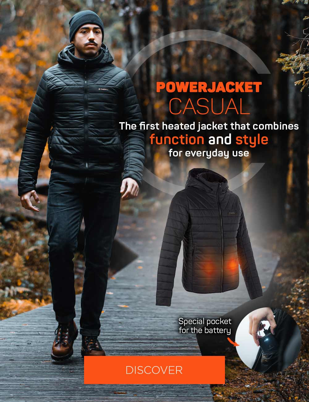 The first heated jacket that combines function and style for everyday use!