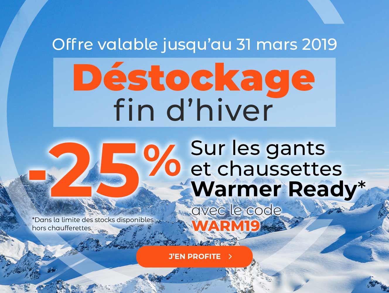 -25% sur toute la gamme Warmer Ready, gants et chaussettes chauffantes
