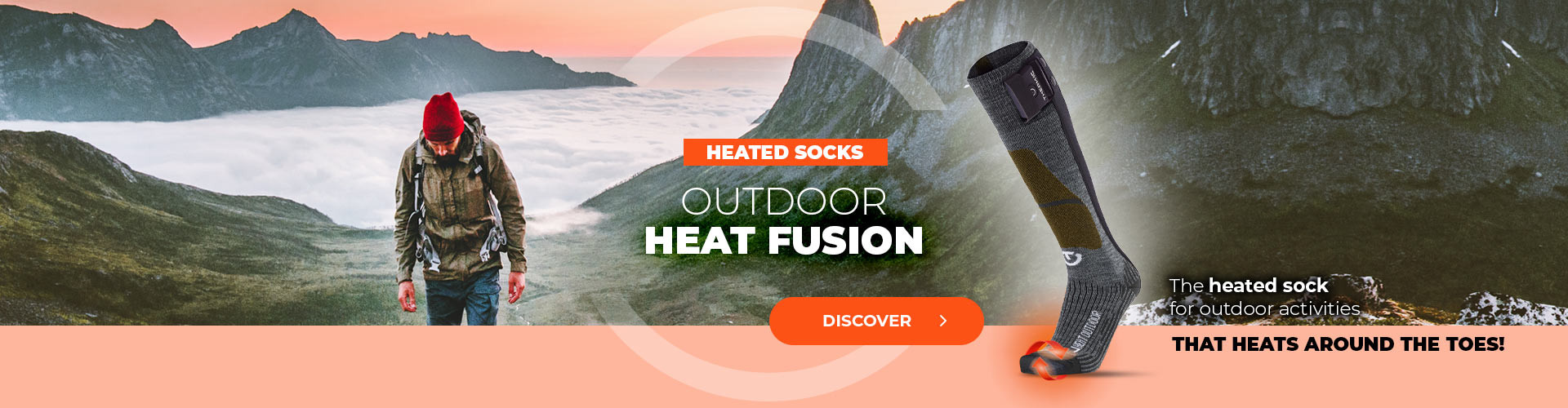 Discover the forst heated sock for outdoor activities who heat all around the toes!