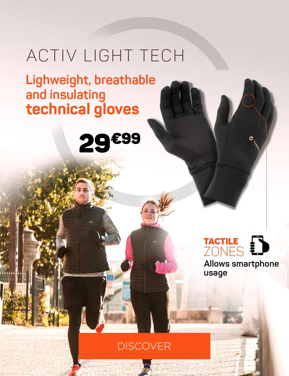 Lightweight, breathable and insulating technical gloves